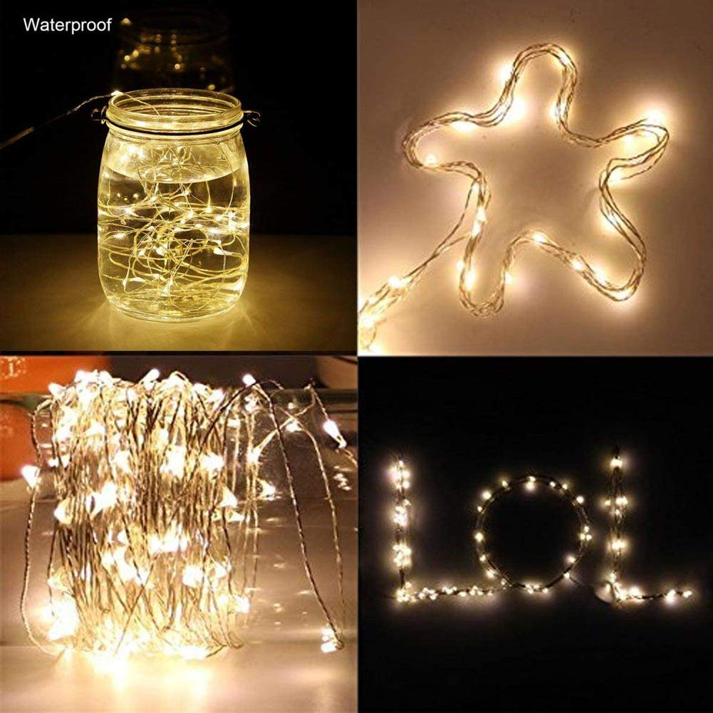 LED Fairy Lights String Copper Wire Lights Warm White 100LEDs 33ft 8 Modes 【 Remote/& Timer】Battery Operated for Christmas,Party,Festival Decorative Waterproof Outdoor/&Indoor Fairy Lights