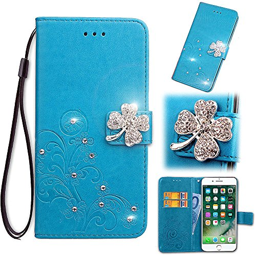Blue for LG stylo4,Gostyle LG Q Stylus Flip Case Embossed Flower Luxury Diamond Magnetic Closure Cover with Hand Strap/Card Slots/Stand ()