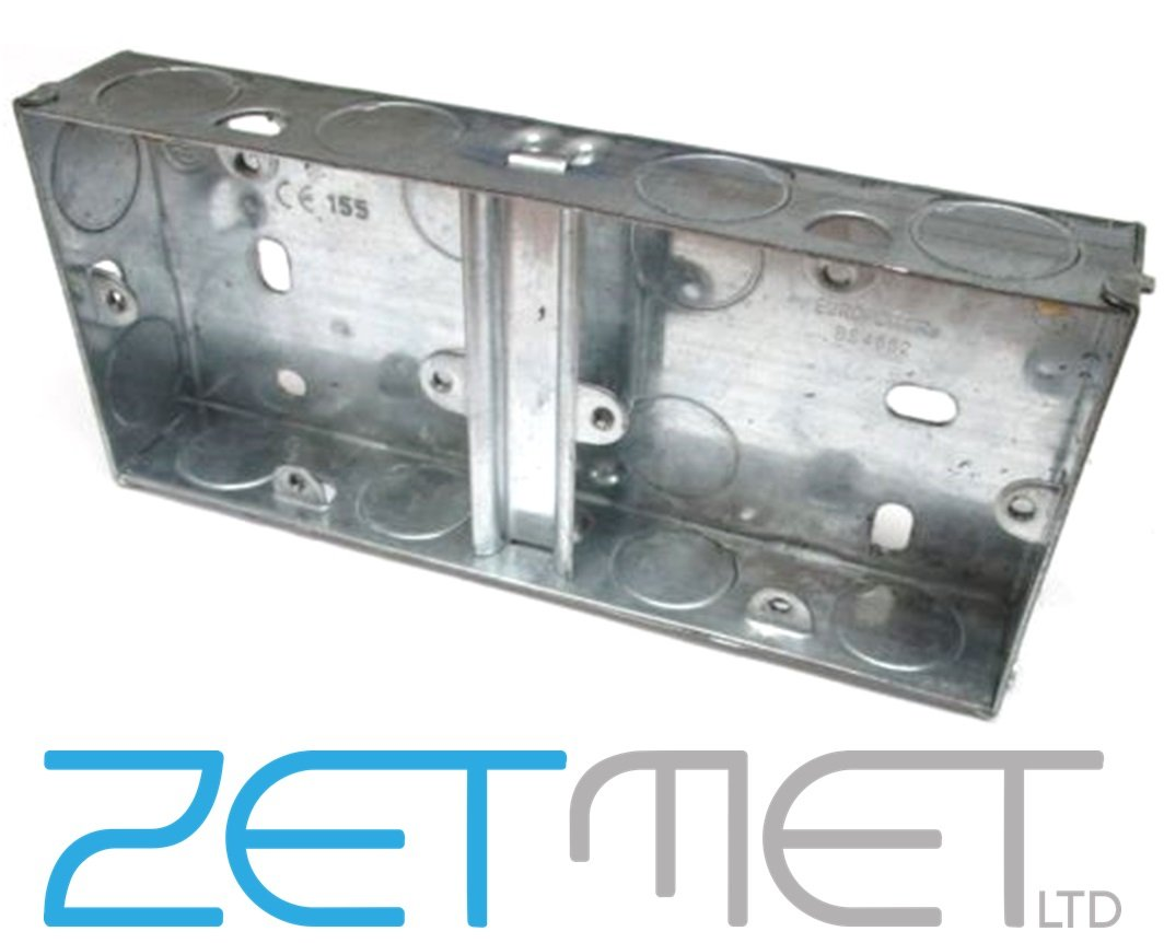 Dual 1 Gang 25mm Metal Pattress Electrical Wall Back Box Europower