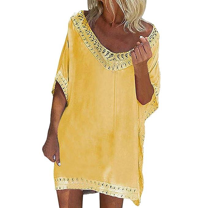Innerternet-Vestido,Color sólido Suelto Mini Vestido Calado de Estilo de Bohemio de Cuello