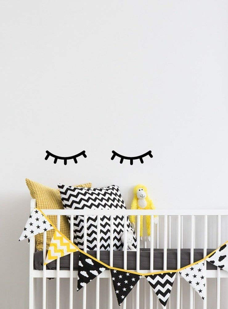 Dnven Quotes (8w) Cute Narrow Eyes Sleeping Children Kids Bed Decorations Wall Door Glass Decals Stickers Removable Vinyl Arts for Children's Day Bedrooms Family Playroom Classroom Nursery (Eyes)
