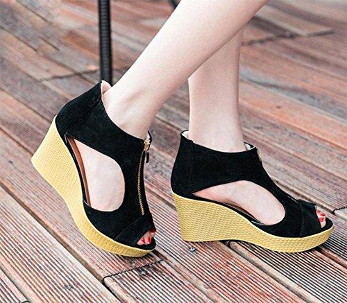 Zipper weibliche hochhackigen Sandalen Hang mit dicker Kruste Muffin Schuhe hohlen Fischkopf Schuhe black