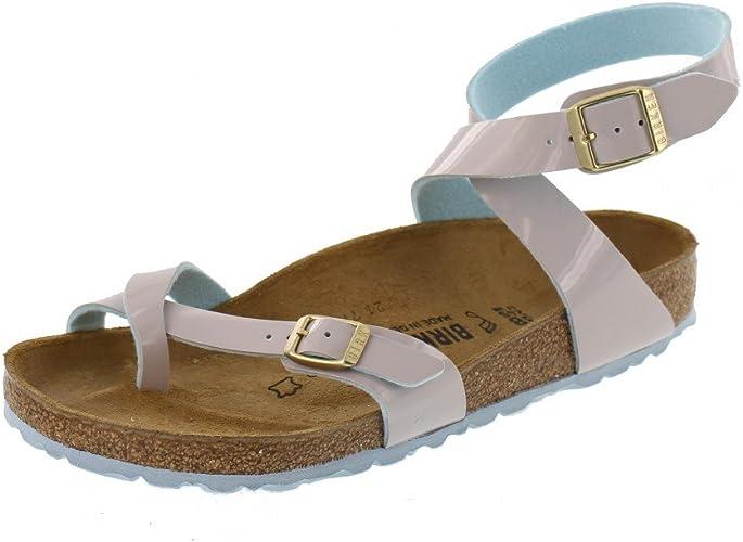 BIRKENSTOCK Yara Two Tone Sandale mit Orig. Kork Latex Fußbett, Birko Flor® Obermaterial in Lacklederoptik und weichen Pastelltönen, weiches