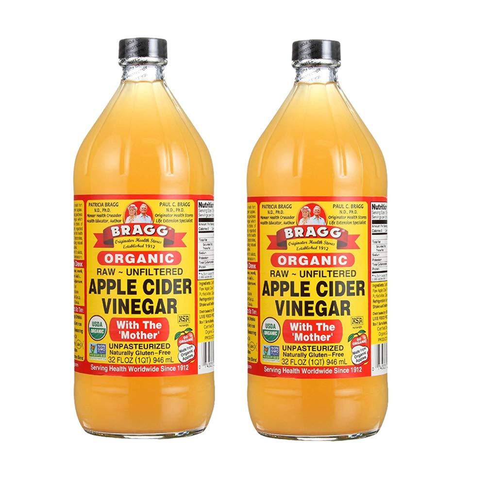 Bragg Organic Raw Unfiltered Apple Cider Vinegar, 32 fl.oz (Pack of 2)