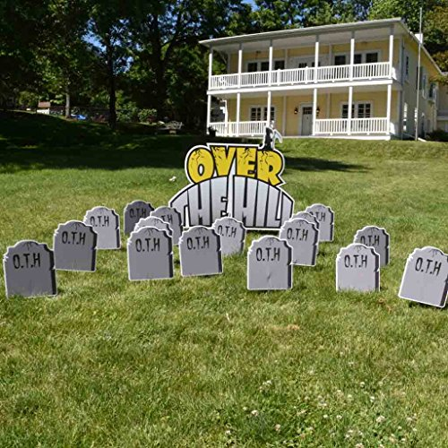 VictoryStore Yard Sign Outdoor Lawn Decorations: Birthday Yard Cards - Over The Hill Greetings w/Tombstones Yard Decoration with 2 EZ stakes and 16 short stakes