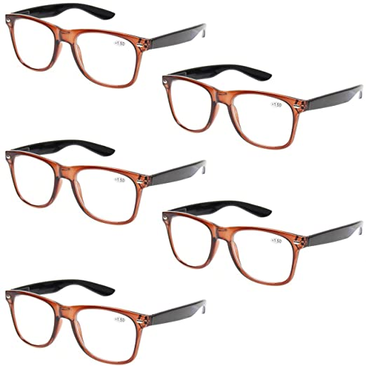 b46b3f2fdad Reading Glasses 5 Pack Spring Hinge Large Frame Fashion Men and Women  Readers (5 Pack