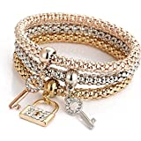 HULKY Charm Women Key Lock Bracelet Gold Silver Rose Gold Rhinestone Bangle Sale Clearance Casual 2019 Newest Jewelry Set Tricolor Suit Elastic Force Popcorn Corn Chain Multicolor