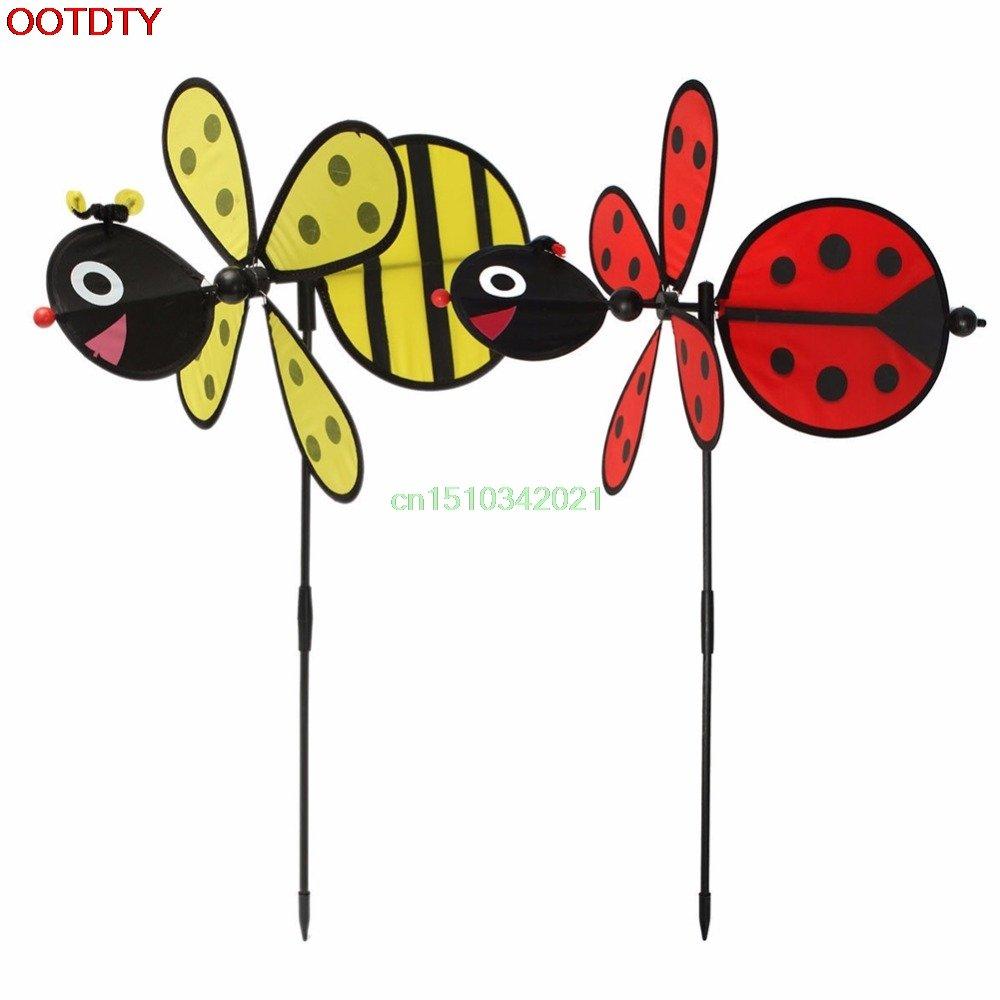 Best Garden Tools Bumble Bee/Ladybug Windmill Whirligig Wind Spinner Home Yard Garden Decor