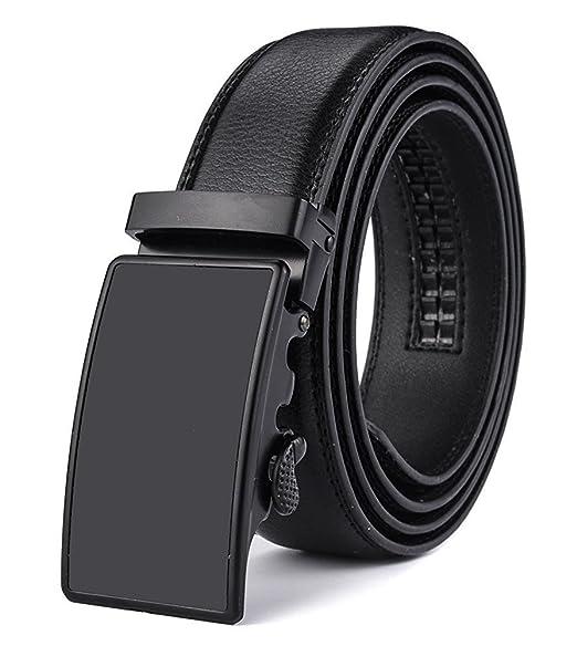 KHC Mens Leather Ratchet Dress Belt with Automatic Adjustable Buckle,Large size