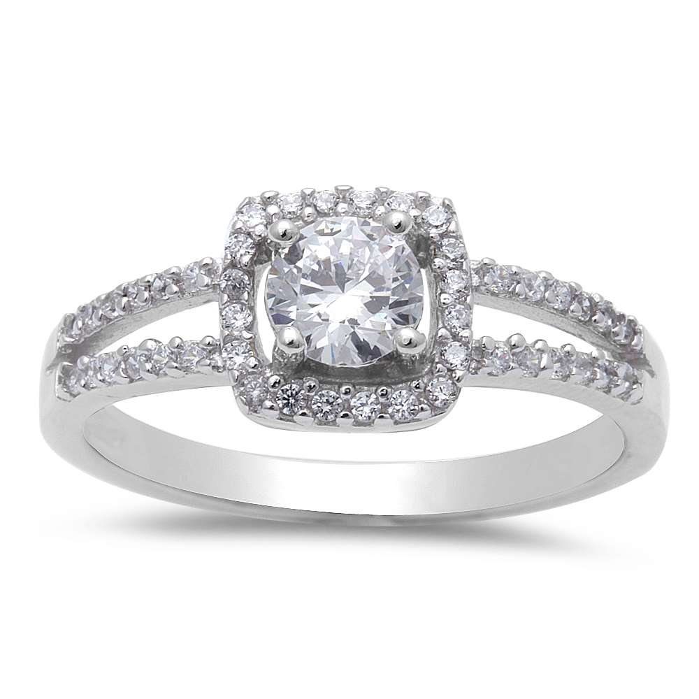 Cushion Shape Fine Cubic Zirconia .925 Sterling Silver Ring Sizes 5