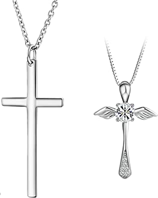 Cross Pendant Necklaces for Women Silver Gnzoe Jewelry-Womens S925 Sterling Silver Necklace