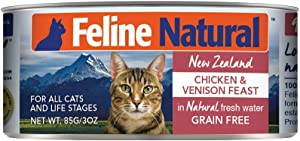 Feline Natural BPA-Free & Gelatin-Free Canned Cat Food, Chicken & Venison 3oz 24 Pack