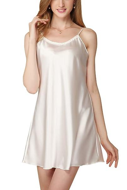 Dolamen Camisón para mujer, Mujer Cordón Corto Camisones raso Satin Pijamas, lencería Spaghetti Strap