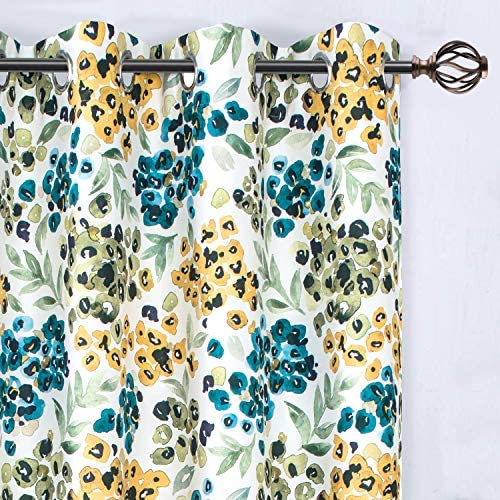 DriftAway Oliver Watercolor Flower Botanical Pattern Energy Saving Thermal Insulated Blackout Lined Grommet Window Curtain 2 Panels 52 Inch