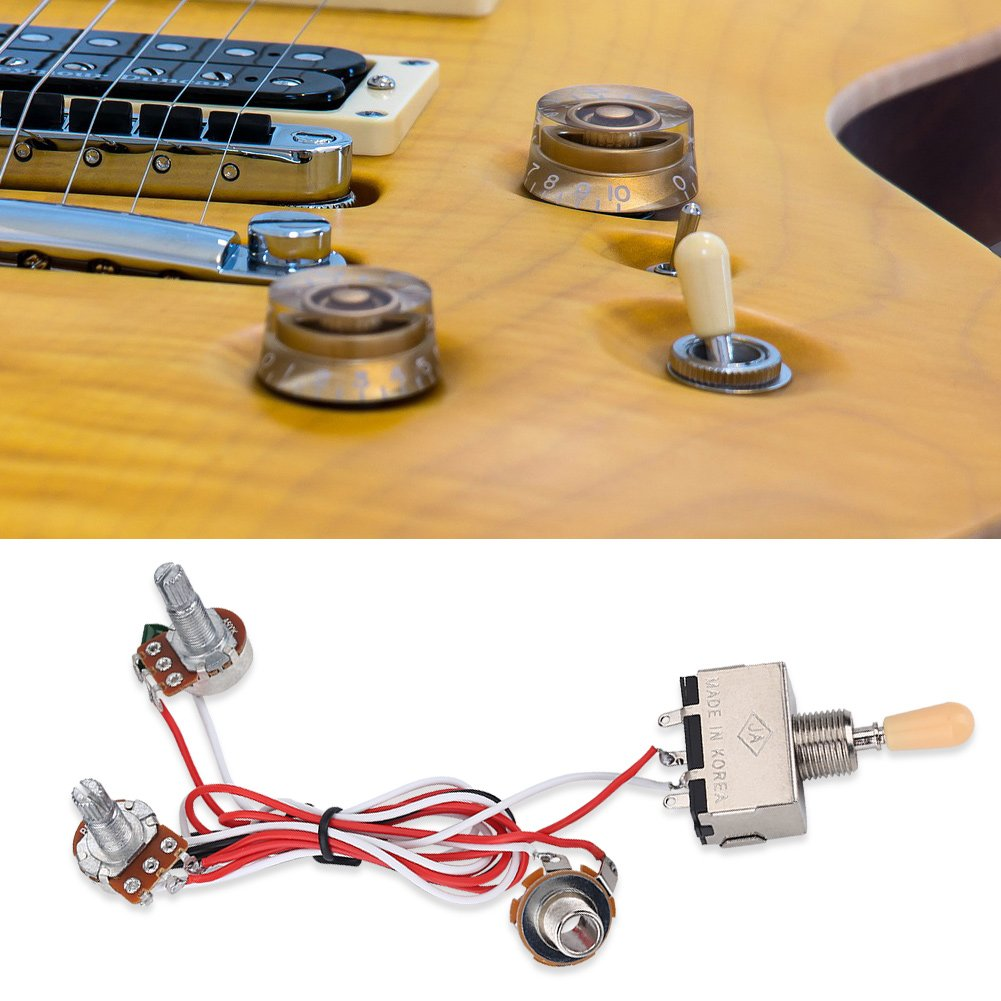 Guitar Wiring Harness Kit 3 Way Switch A Toggle Mini On Get Free Image About For Lp 2 Humbucker 1 Volume Tone Jack 500k Pots Musical Instruments