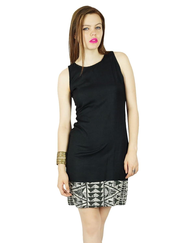 Bimba Frauen kurze, figurbetontes Kleid ärmellos schwarz Rayon beiläufige mini kundenspezifische Kleidung