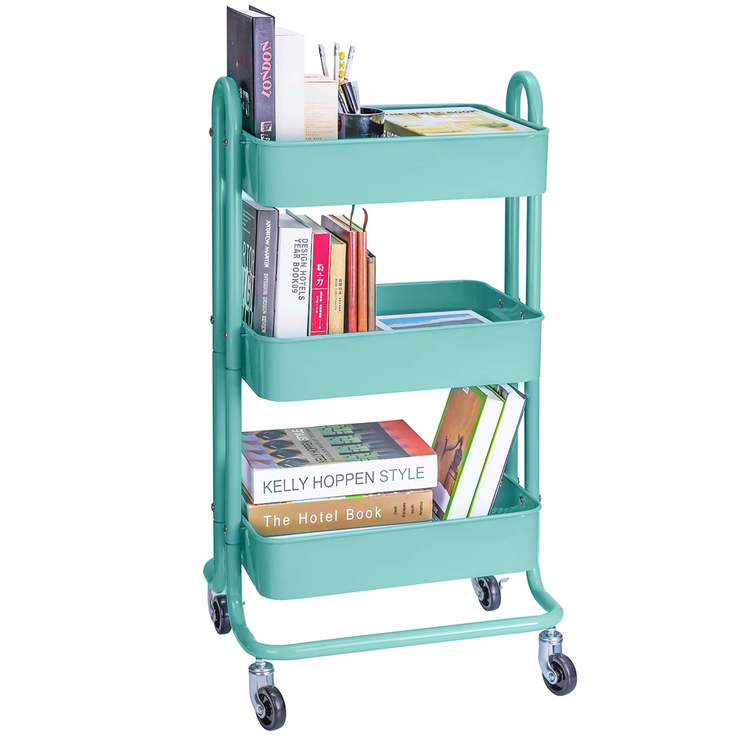 3-Tier Metal Rolling Utility Cart Heavy Duty Mobile Storage Organizer Craft Cart, Turquoise
