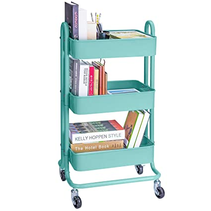 8b3c5e3e18e4 3-Tier Metal Rolling Utility Cart Heavy Duty Mobile Storage Organizer Craft  Cart, Turquoise