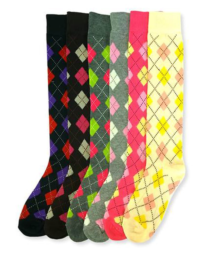 Mamia 6 Pack Women Multi Pattern Playful and Colorful Knee High Socks (AR1, Size 9-11)
