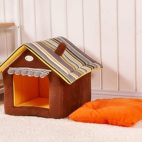 Casa de mascotas de lujo con aislamiento cálido Acolchado Cueva acogedora Perro extraíble Cama para gato