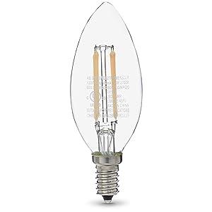 AmazonBasics 60W Equivalent, Clear, Soft White, Dimmable, 15,000 Hour Lifetime, B11 (E12 Candelabra Base) LED Light Bulb | 3-Pack