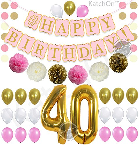 (PINK 40th BIRTHDAY DECORATIONS PARTY KIT - Pink Gold and Cream Paper PomPoms | Latex Balloons | Gold Number 40 Ballon | Circle Garland | 40th Birthday Balloons | 40 Years Old Birthday Party Supply)