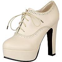 Jamron Mujer Vendimia Plataforma Alta Tacón de Bloque Zapatos de la Corte Elegante Brogue Oxfords/Derby con Cordones
