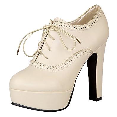 94a0cfc0b5210 Jamron Women Elegant High Platform Block Heel Brogue Oxfords Closed-Toe Lace  Up Heeled Pumps
