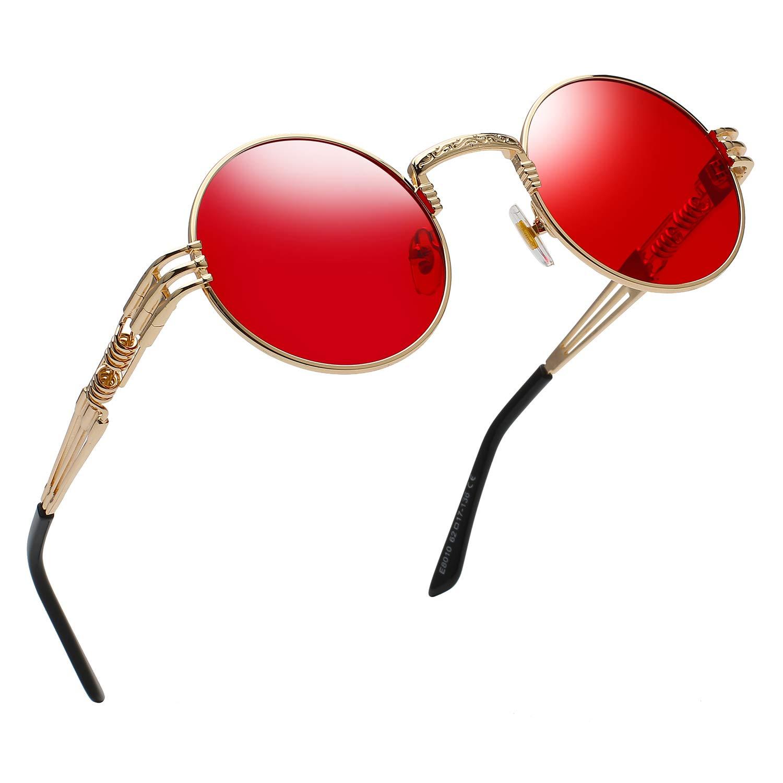 RANHUU Steampunk Round Sunglasses for Men and Women John Lennon Glasses Circle Metal Eyewear (Gold Frame/Ocean Sea Red Lens), Small by RANHUU