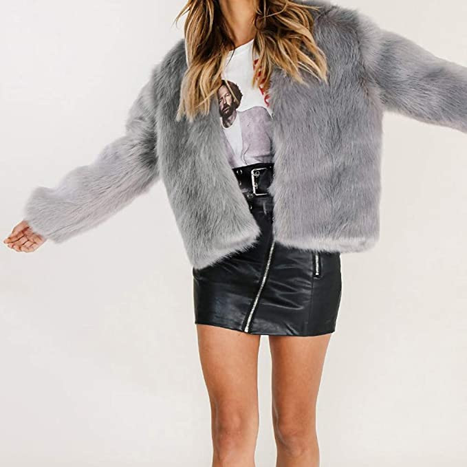 BODOAO Women Short Fleece Fur Coat Jacket Faux Shearling ...