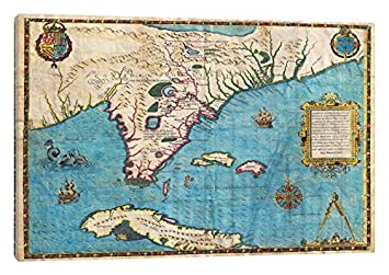 Map Of Florida And Cuba.Amazon Com Icanvasart Map Of Florida Cuba 1588 Canvas Print 8