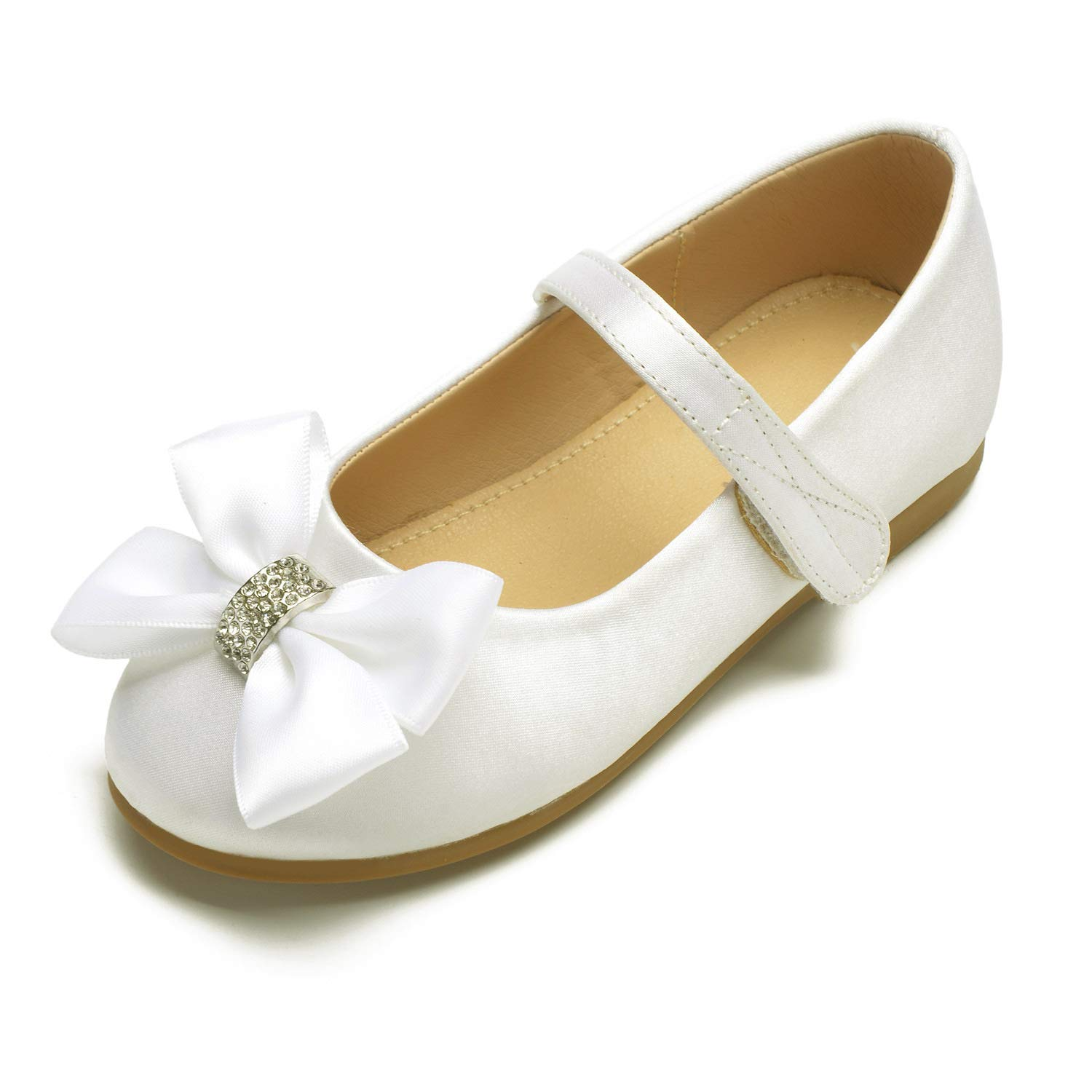 LLBubble Flat Satin Flower Girls Shoes Round Toe Strap Wedding Party Shoes for Kids Princess Dress Pumps Shoes with Bow-1211-5