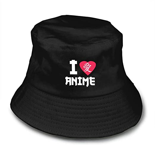 I Love Anime in Japanese Lover Unisex Cotton Packable Black Travel Bucket Hat Fishing Cap