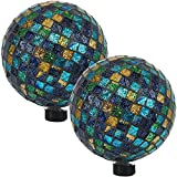 Sunnydaze Mosaic Gazing Globe Glass Garden Ball, Outdoor Lawn and Yard Ornament, Blue, 10 Inch, Set of 2