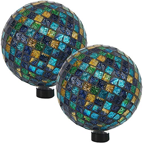 Sunnydaze Mosaic Gazing Globe Glass Garden Ball, Outdoor Lawn and Yard Ornament, Blue, 10 Inch, Set of 2 by Sunnydaze Decor (Image #4)