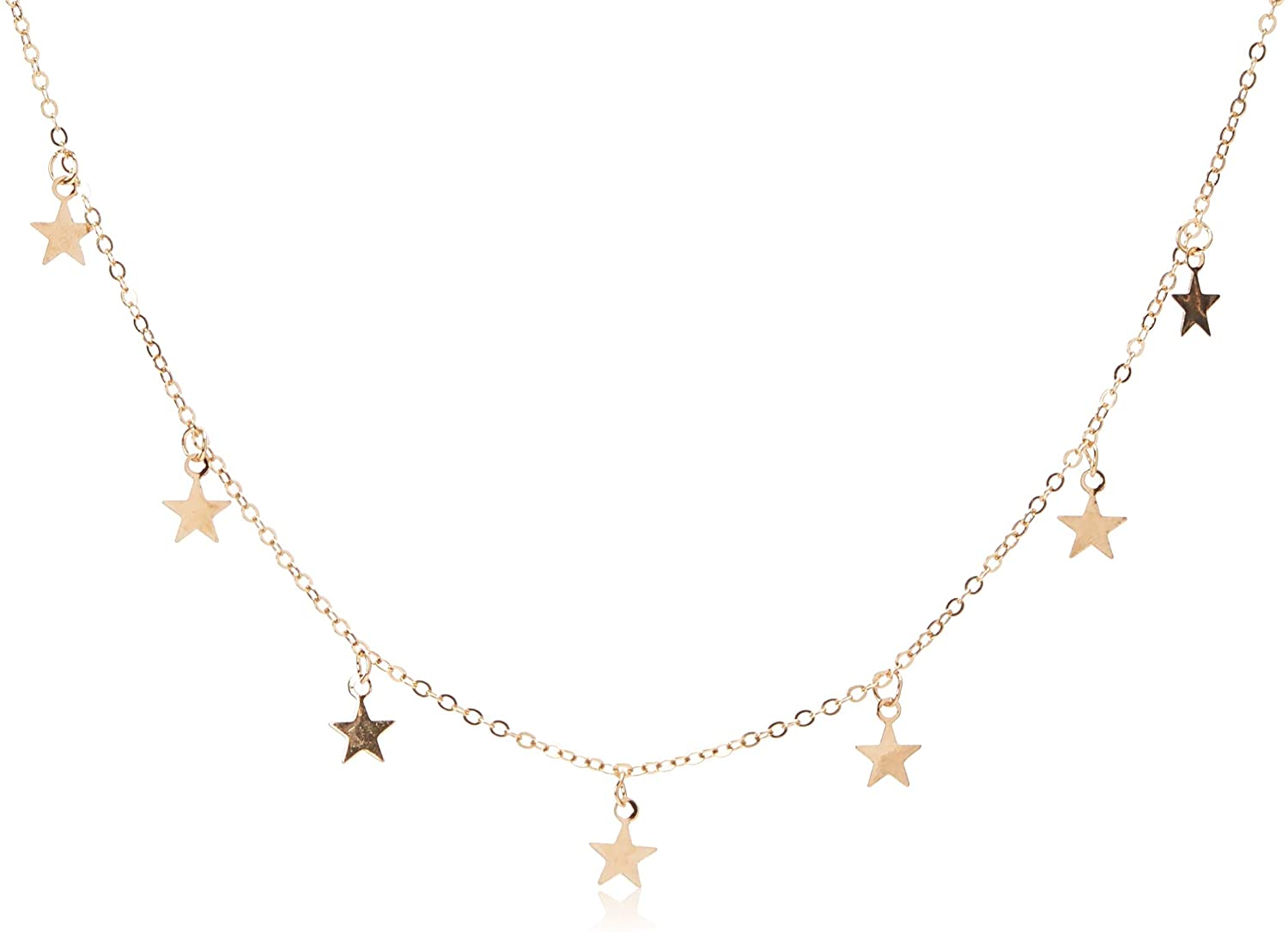 Dolland Lucky Star Choker Necklace Pendant Tassels Chain Statement Necklace for Women Girls,Gold,Adjustable