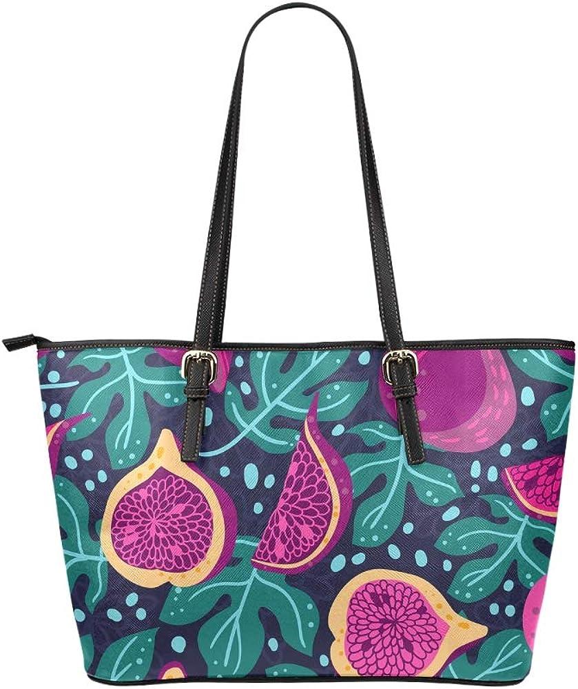 Huge Handbags Retro Rural Fruit Fig Green Leaf Leather Hand Totes Bag Causal Handbags Zipped Shoulder Organizer For Lady Girls Womens Hand Luggage Bag