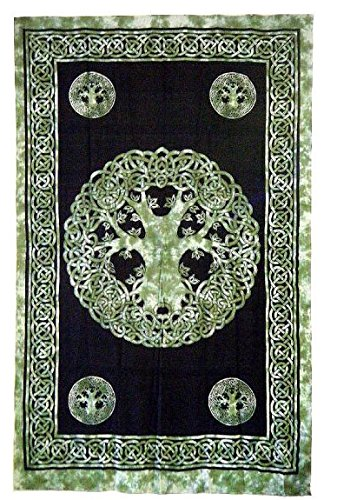 Beautiful Green Celtic Tree of Life Tapestry 72
