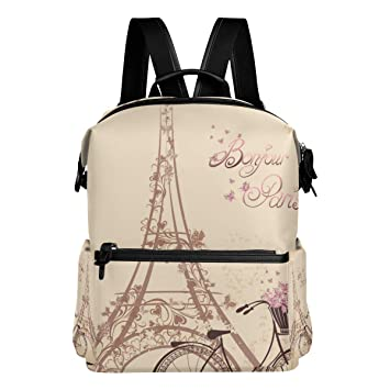 Amazon.com | Dragon Sword Bonjour Paris Tower Eiffel And Bicycle School Backpack College Bags Daypack Bookbags for Teen Boys Girls | Kids Backpacks