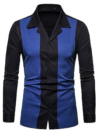4ec53b24b HOP FASHION Mens Hipster Gold Embroidery Mandarin Collar Slim Fit Long  Sleeve Casual Button Down Dress
