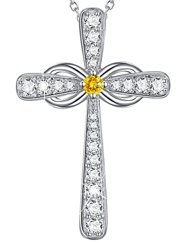 Gifts For Her Christmas Love Infinity Cross Necklace LC Citrine Sterling Silver Jewelry Anniversary Birthday
