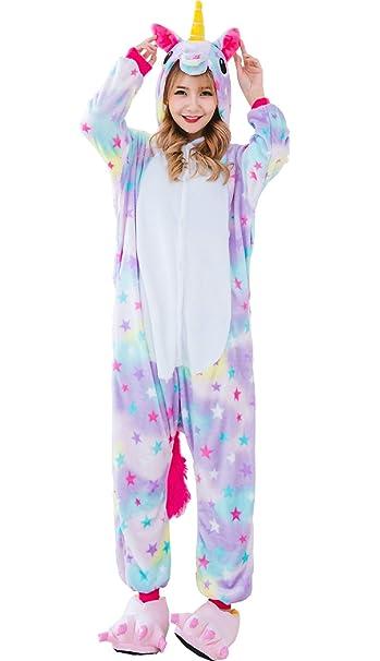 outlet 70854 8f735 Hotmall Unicorno Onesies Adulto Pigiama Unicorno Unisex Costumi Cosplay di  Flanella Animale Biancheria da Notte da Donna Uomo Arcobaleno Stella ...