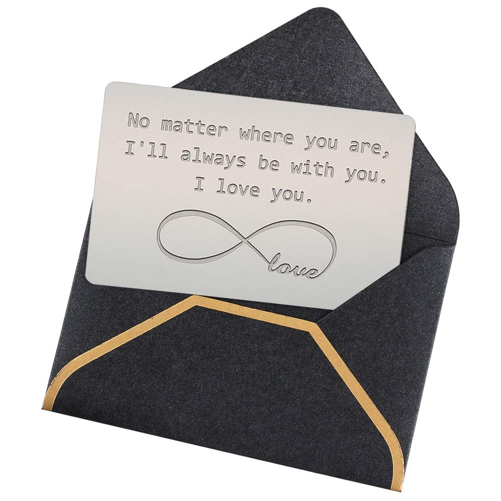 Engraved Wallet Love Note Insert, Metal Wallet Card Insert with Free Gift Envelope -I'll Be Always with You- Anniversary Cards for Husband from Wife, Steel Anniversary Gifts for Men