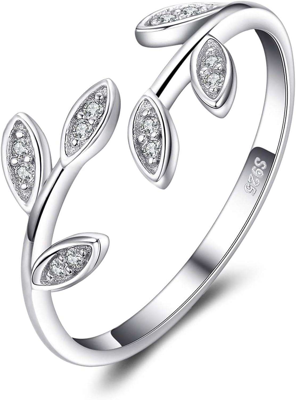 JewelryPalace Hoja de olivo Zirconia cúbica Anillo abierto ajustable Plata de ley 925