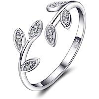 JewelryPalace Anillo Hoja de olivo Anillos Mujer Plata Ajustables, Anillos Plata de ley 925 Mujer Oro, Anillos Niñas…