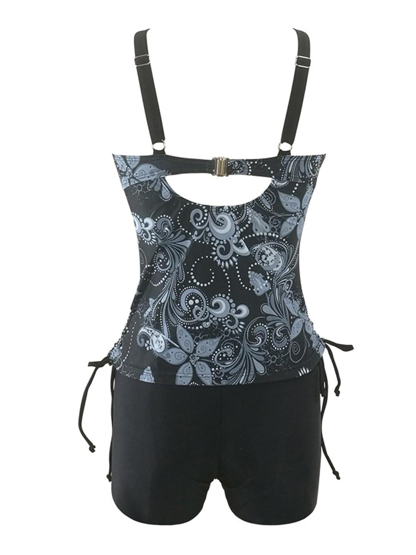 Zando Women Sporty Bathing Suit Printed Tankini Top Sets Two Piece Swimsuit Boyshort Push up Swimwear for Ladies