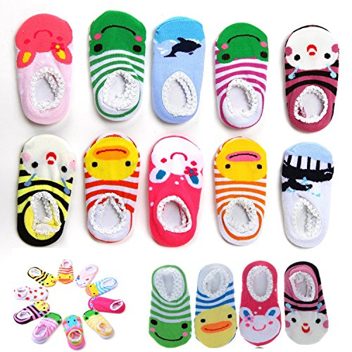 Bassion-10-Pairs-Baby-Socks-Non-Slip-Newborn-Infant-Cute-Baby-Ankle-Cotton-Socks-Skid-Toddler-Gripper-Socks-for-6-18-Months