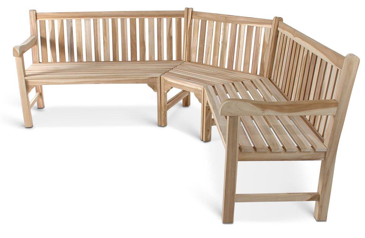 SAM® Teak-Holz Gartenbank, Eckbank, Sitzbank, 210 x 210 cm, pflegeleichte Bank aus Massivholz, Platz für 6 Personen, ideal für Balkon, Terrasse oder Garten