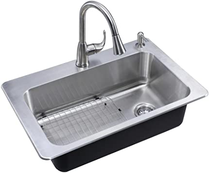 Glacier Bay All In One Drop In Stainless Steel 33 In 2 Hole Single Basin Kitchen Sink Amazon Com