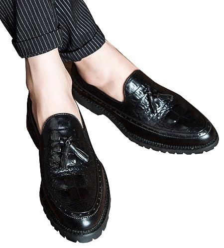 Men's Shoes Dress Slip-On Loafer Glligator Fringed by Santimon Black 5.5 D(M